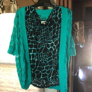 Blouse & Jacket Black/teal 2x/3x